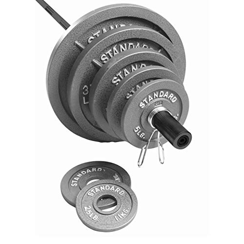 CAP Barbell 300 Pound Olympic Set, Grey (Best Olympic Bar And Weight Set)