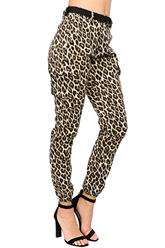 (TwiinSisters Women's High Rise Slim Fit Color Leopard Print Cargo Jogger Pants with Multi Pockets - Size Small to)