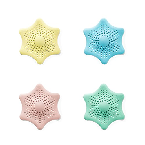 EXCEL-LEADER Shower Drain Hair Catcher Hair Stopper Drain Protector,Hexagonal Starfish Shaped Rubber Sink Strainer,4 Pack