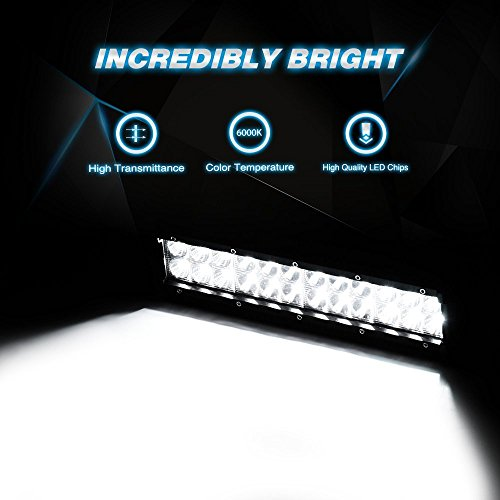 LED Light Bar Nilight 12 Inch 72W LED Work Light Spot Flood Combo LED Lights Led Bar Driving Fog Lights Jeep Off Road Lights Boat Lighting ,2 Years Warranty