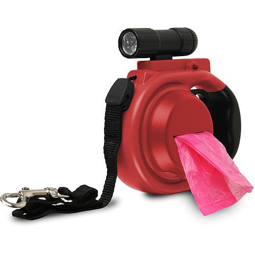 retractable-dog-leash-with-removable-led-flashlight-waste-bag-dispenser-red