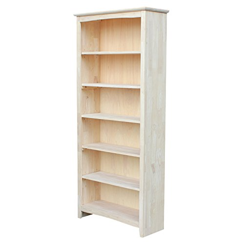 (International Concepts Shaker Bookcase, 72-Inch, Unfinished)