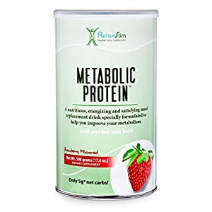 "RelaxSlim Meal Replacement Whey Protein Shake, Aid for a ""Slow Metabolism"" with Ingredients to Naturally Suppress Appetite and Start of Your Day Burning Fat- Great Taste and Very Filling (Strawberry)"