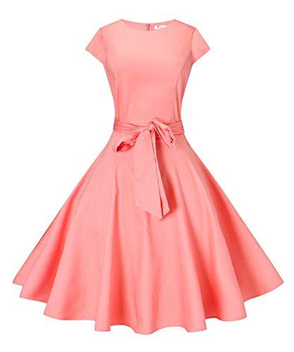 Fit and Flare Polka Dot Summer Dress 1950s Vintage Dresses for Women (Coral Dot Polka)