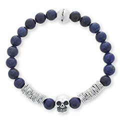 """Steve Madden Simulated Blue Lapis Skull Station Beaded 7.5"""" Stretch Bracelet for Men in Stainless Steel       The best way to care for your jewelry is to make sure it is the last thing you put on and first thing you take off. Avoid exp..."""
