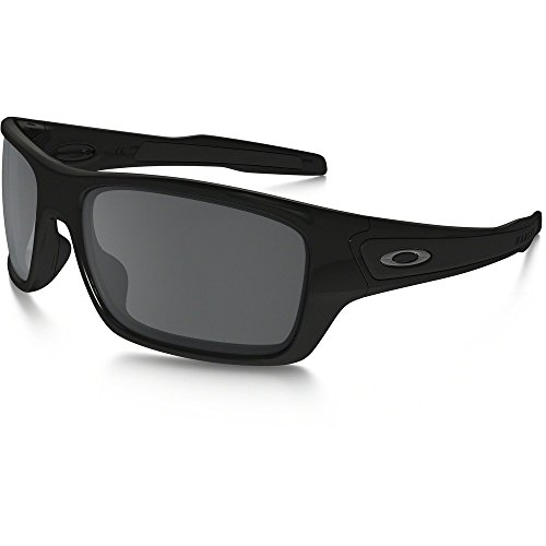 Oakley Men's Turbine OO9263-03 Iridium Rectangular Sunglasses, Polished Black, 65 - Iridium Black