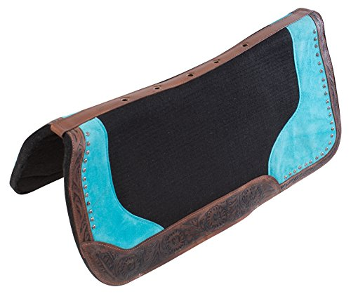 VENTILATED NON SLIP BLUE WESTERN PLEASURE HORSE SADDLE PAD SHOCK ABSORBING GEL INFUSED WOOL BLANKET (Horse) (Blanket Wool Antique)
