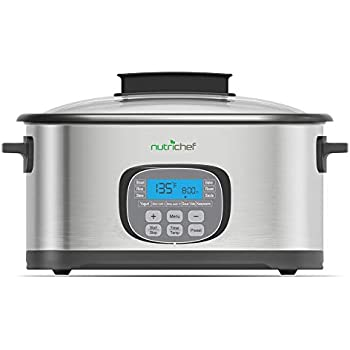 NutriChef Electric Slow Cooker 11 In 1 Cooking Functions CrockPot,Steamer, Sous Vide, Rice, Bake, Saute etc Stainless Steel, Digital Timer Display, 6.5 Quart Capacity 1500 Watt (PKPC45)
