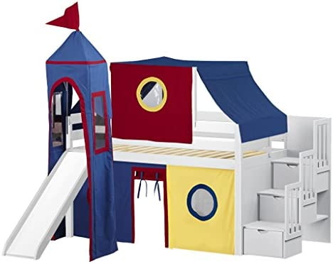 JACKPOT Castle Low Loft Stairway Bed with Slide Red Blue Tent and Tower, Loft Bed, Twin, White