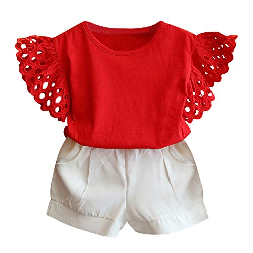 - Baby Clothing Kids Summer Clothes Girls Flower Printing Vest + Pure Color Pants Children Clothing Set (Red, 4-5T)