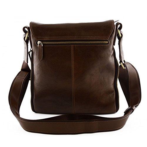 Herren Umhängetasche Aus Echtem Leder Mit Ausdehnbaren Seiten Farbe Dunkelbraun - Italienische Lederwaren - Herrentasche