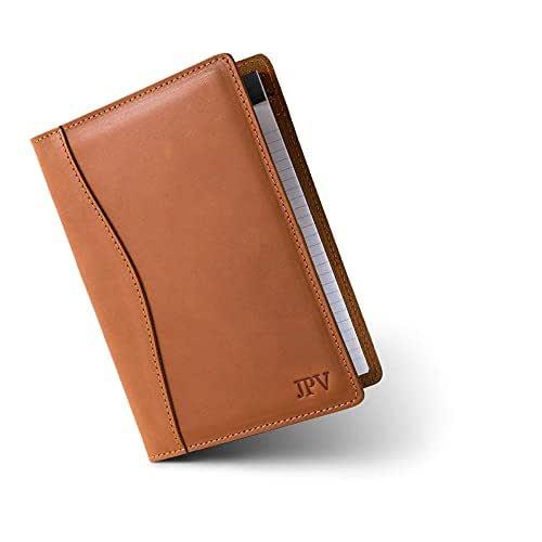 PEGAI Personalized Leather Padfolio | Personalized Leather Portfolio | Junior Legal Padfolio 5 x 8 Inch by PEGAI | ERIKSEN (Cognac)