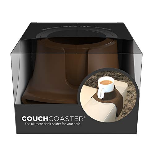CouchCoaster – The Ultimate Anti-Spill Cup Holder Drink Coaster for Your Sofa or Couch, Mocha Brown