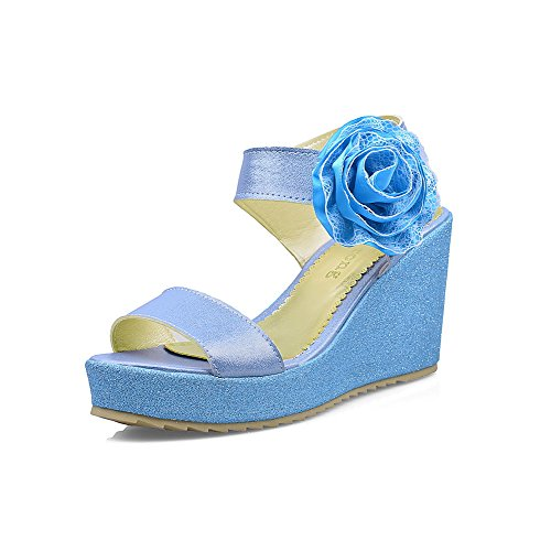 AgooLar Women's Hook-and-loop High-Heels PU Solid Open Toe Sandals Blue
