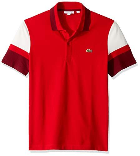 Lacoste Men's S/S Colorblock Strech Pique Slim FIT Polo, red/Flour/Pinot, XX-Large