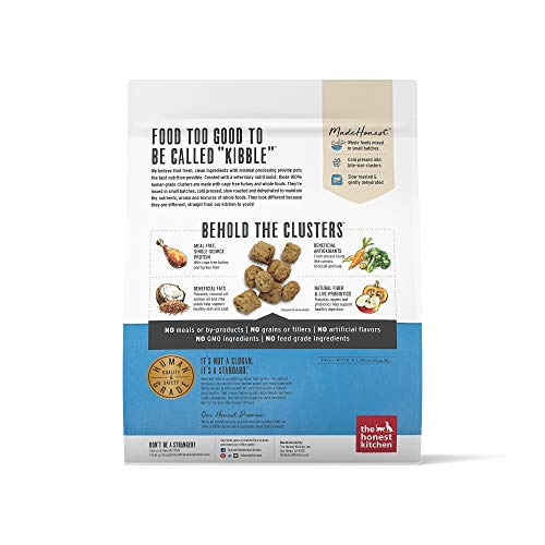 The Honest Kitchen Whole Food Clusters Human Grade Dry Dog Food – Cage Free Chicken, Cage Free Turkey, Ranch Raised Beef