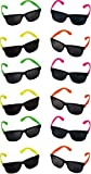 Rhode Island Novelty Neon 80's Style Party Sunglasses with Dark Lens | Pack of 12