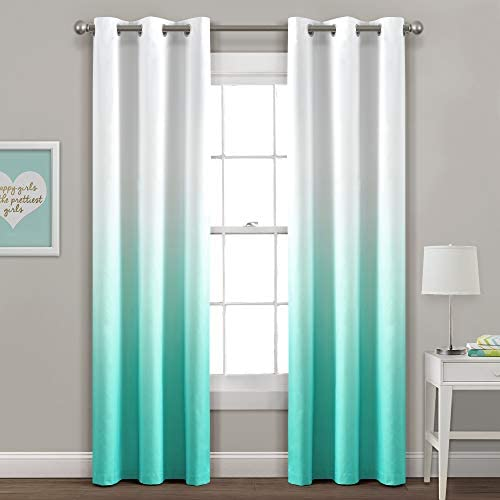 PB J Mia Ombre Insulated Gromment Blackout Window Curtain Panel Pair