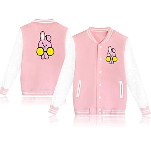BTS Bangtan Boys Jimin Jung Kook V Suga Baseball Uniform Sweater Jacket Coat (XL, Cooky Pink) by Misisi