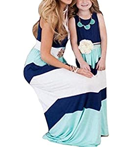 Summer Cute Mommy and Me Boho Striped Chevron Maxi Dresses