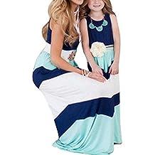 Qin.Orianna Summer Cute Mommy and Me Boho Striped Chevron Maxi Dresses