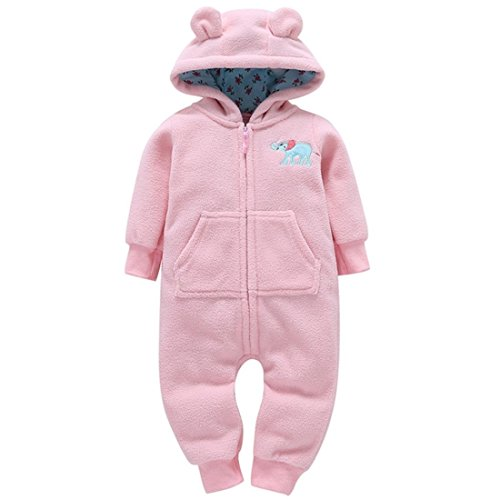 GONKOMA Autumn Winter Infant Toddler Boys Girls Thicker Warm Hooded Romper Jumpsuit Outfit Kid Clothes