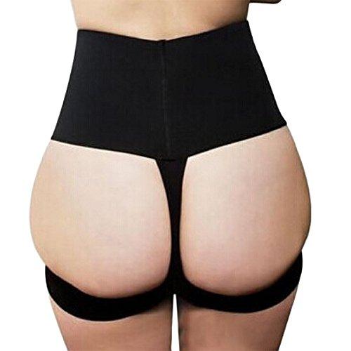 Shymay Women's Butt Lifter Panties High Waist Tummy Control Shapewear Boyshort, Black, Large