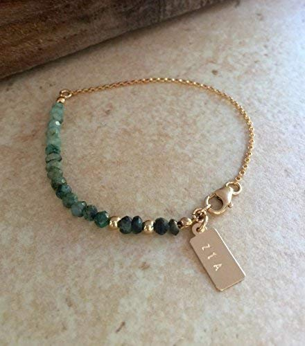 Personalized Emerald Bracelet Ombre Emerald Bracelet Wife Anniversary Gift May Birthstone Stacking Bracelet Green Emerald ()