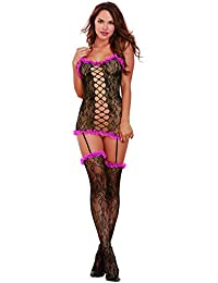 DreamGirl Women's Masala Garter Dress With Attached Thigh Highs