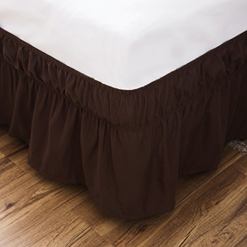 Dark Brown Wrap - Bed Skirt-14 Inch Drop Dust Ruffle Three Fabric Sides Wrap Around Ruffled (Queen/King Coffee) Brushed Microfiber Adjustable Elastic Easy Fit