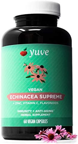 Yuve Echinacea Supreme 850 mg Zinc, Vitamin C Bio Flavonoids Extract – Herbal Natural Physical Wellness Supplement – Potent Strength for Seasonal Protection Healthy Immunity Function, 60 Count