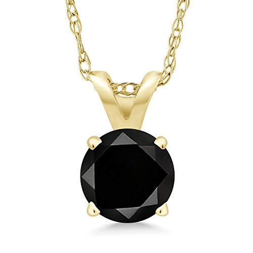(Gem Stone King 1.05 Ct Round Black Diamond 14K Yellow Gold Pendant With Chain)