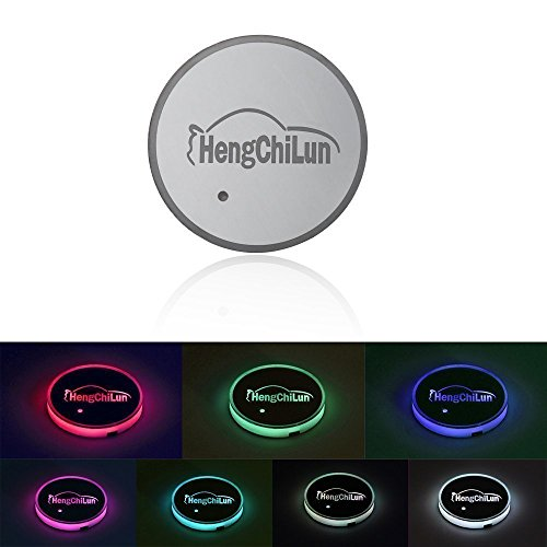 Powstro LED Car Cup Holder Mat Pad Coaster RGB Cup Holder Lights Car Interior Light Decor Drink Cup Mat Waterproof Rechargeable Bottle Drinks Coaster With Light Sensor Automatically Turn On at Dark