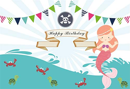 (Yeele Mermaid Birthday Backdrop 8x6ft Under Sea Turtle Photography Background Newborn Baby Portraits Pirate Birthday Party Decoration Photobooth Banner)