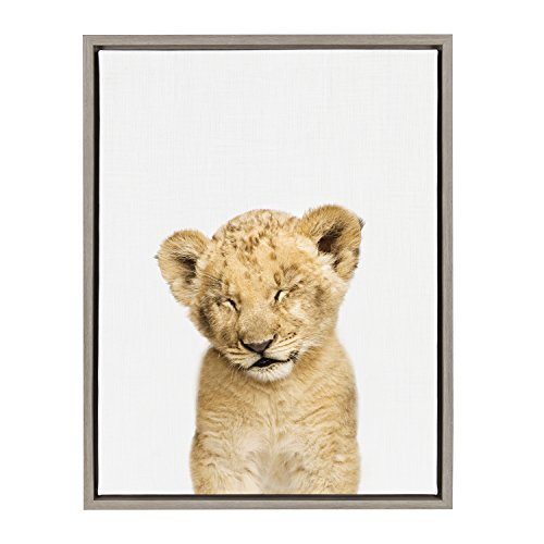 (Kate and Laurel Sylvie Sleepy Baby Lion Animal Print Portrait Framed Canvas Wall Art by Amy Peterson, 18x24 Gray)