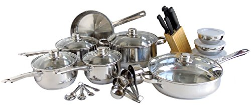 Freedom Stainless Steel Silver Kitchen Cookware Set, Pots and Pans, 31-Piece