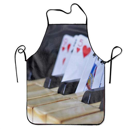 TanJieis Unisex Waterproof Aprons Piano and Playing Cards Kitchen Apron for Cooking Gardening BBQ Adjustable Comfortable Standard Size (2 Jeans Sims)