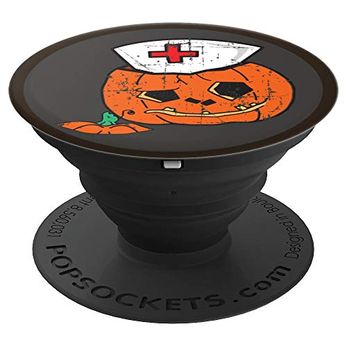 Funny Pumpkin Nurse Gift Jack O Lantern Candy Halloween - PopSockets Grip and Stand for Phones and Tablets
