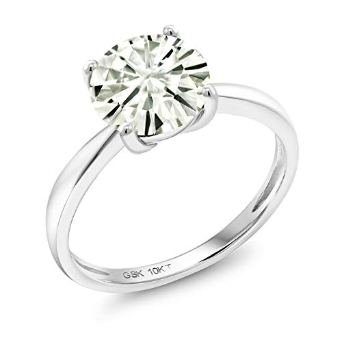 - 10K White Gold Solitaire Ring Forever Classic Round 1.00ct (DEW) Created Moissanite by Charles & Colvard (Size 8)