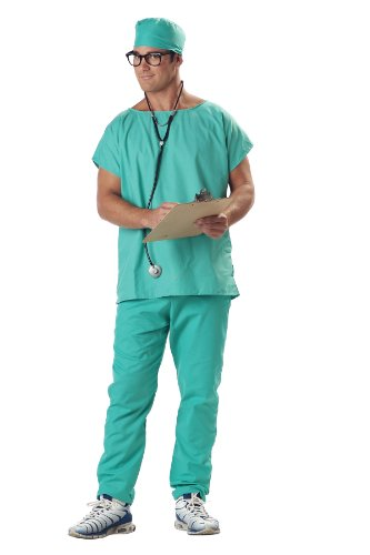 California Costumes Men's Doctor Scrubs Set, Green, -