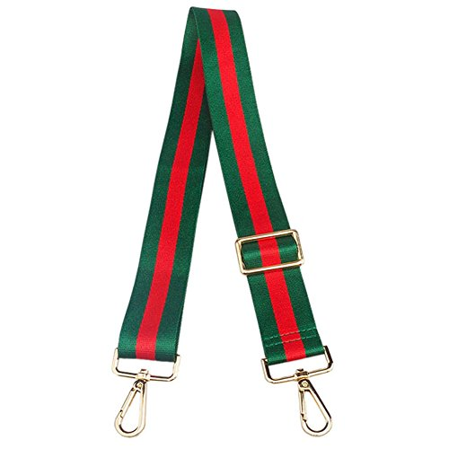Wide Shoulder Strap Adjustable Replacement Guitar Style Cross body Handbag Purse Strap (Green red Green) (Gucci Canvas Shoulder Bag)