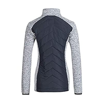 Snow Down Women's Warm Long Sleeves Full-Zip Sweatshirt Knitting Casual Splice Jacket Outwear with Pockets at Women's Clothing store