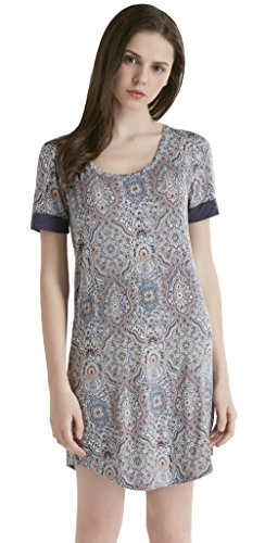 - Ink+Ivy Short Sleeve Nightgowns for Women - Scoop Neck Women Sleepwear, Comfortable Nightshirt Sleepshirt, Paisley, XL