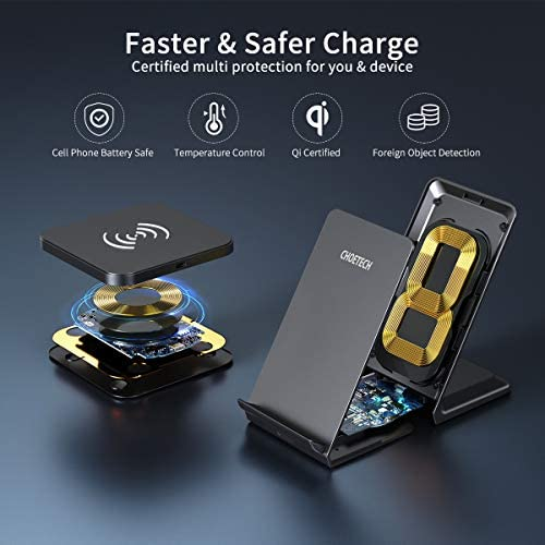 CHOETECH Wireless Charger (2 Pack),Qi-Certified 10W Max Fast Wireless Charging Pad Stand Bundle Compatible with iPhone 12/12 Pro/SE /11/11 Pro/11Pro Max/XS, Galaxy S20+/S10/Note 10, AirPods Pro