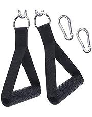 XYZDOUBLE 2 stuks eenhands handgrepen voor weerstandsbanden, siliconen handgrepen, kabeltrekgreep voor fitnessbanden, expanderbanden, triceps, trainingskabel, yoga, fitnessapparaten, trainingshulpen, zwart
