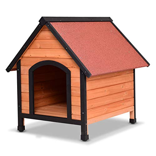 Cheap Tangkula Dog House Outdoor Weather Waterproof Pet House Wood Pet Kennel Natural Wooden Dog House Home with Reddish Brown Roof 3 Size(S/M/L)