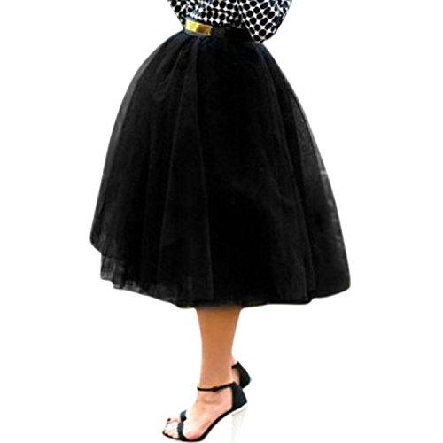 Petalum Jupe Femmes Midi Taille Haute au Genou Tutu Tulle lastique Vintage Classique Princess Rtro Casual Cocktail Party Noir