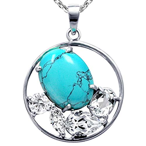 10.81 Ct Blue Oval Turquoise And Whitetopaz 925 Sterling Silver Pendant For Women: Nickel Free Beautiful And Stylish Genuine Anniversary Gift For Wife