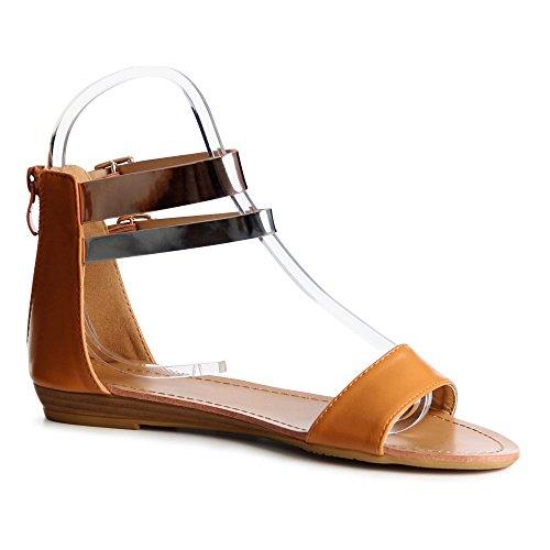 beige mujer Sandalias de camel Marrón topschuhe24 vestir para yBFgqyOw