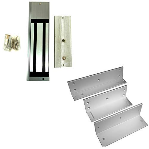DX Series Z and L Brackets for 1200b Inward Swing (inswing) Door and 1200LB Holding Force Magnetic Lock (maglock) for Commercial Access Control Door Systems with 1 Year Warranty ()
